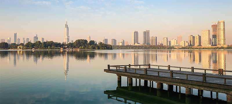 Gazing across Xuanwu lake to the city center.
