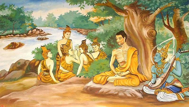 Painting depicting Bodhisattva Gautama undertaking extreme ascetic practices before his enlightenment