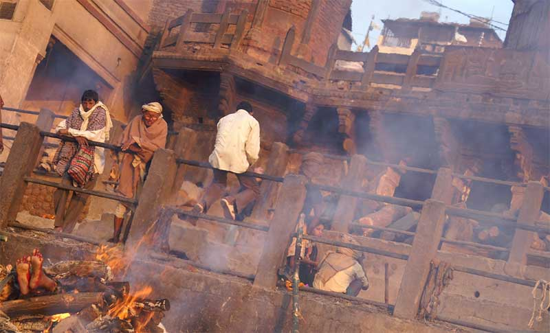 A body on fire at the Burning Ghat in Varanasi