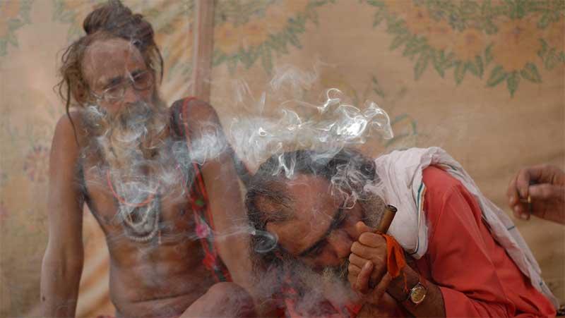 Sadhus smoking hashish in the Himalayan mountains