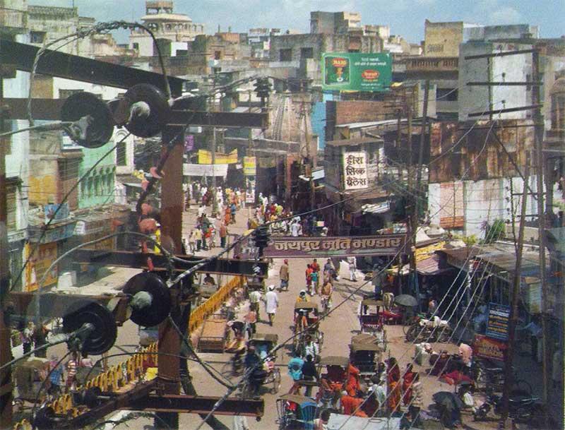Overhead view of Varanasi city streets