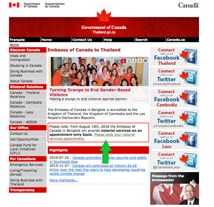 Screenshot of Canada Embassy Bangkok website