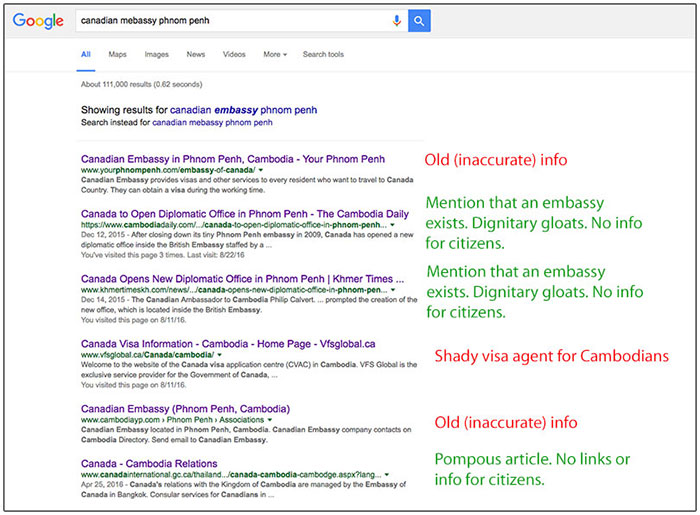 Google search results: Canadian Embassy in Phnom Penh