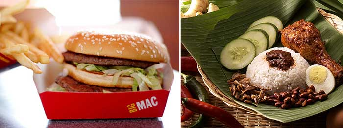 Big Mac vs. Malaysian rice with coconut and chicken.