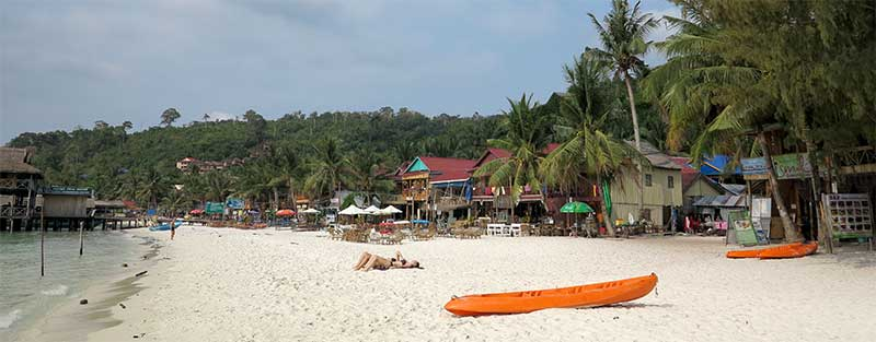 Facing the tourist village on Ko Rong's main beach.