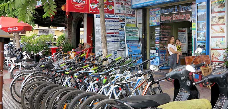 Mountain bikes and scooters are available for rent at several shops along the riverside.