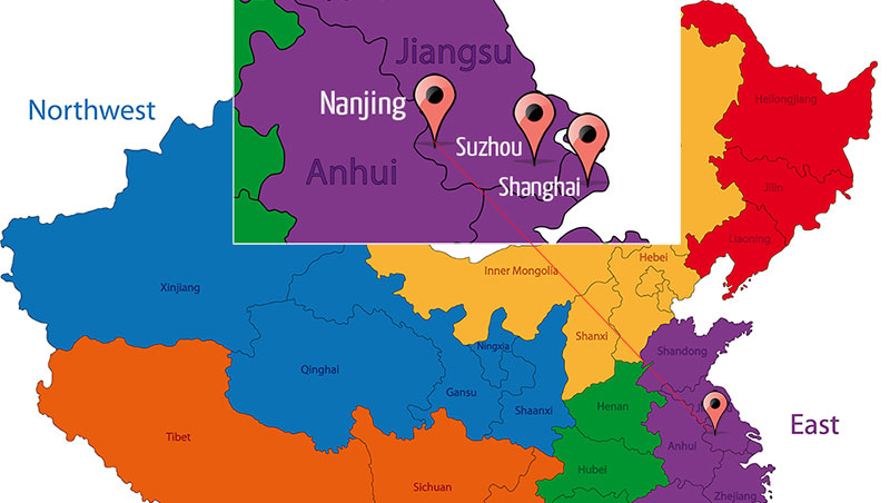 Nanjing is 75 minutes to Shanghai by high-speed train.