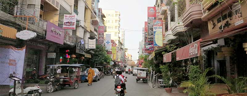 Street 172 in Phnom Penh is full of backpacker establishments.