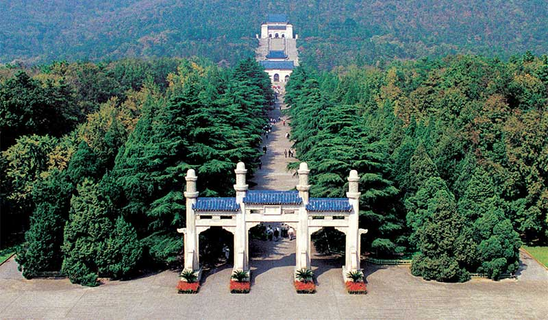 Aerial view of Dr. Sun Yat-sen's Mausoleum, nestled in the foothills of Purple Mountain. Pic: source
