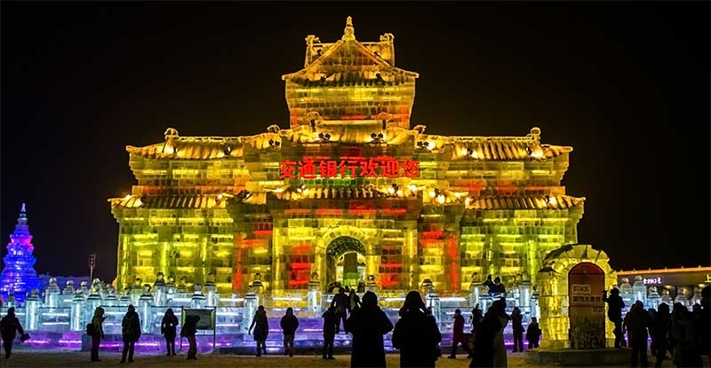 Ice sculptures at the Harbin International Snow and Ice Festival.