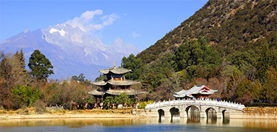 Black Dragon Pool (with Jade Dragon Snow Mountain in the background) is a short walk north of Lijiang Old Town.