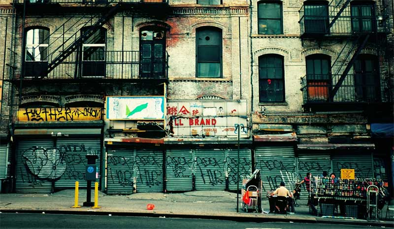 Decay on Canal Street, Chinatown, New York City. (source)