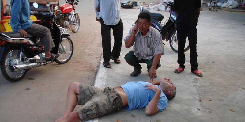 Drunk expat passed out Cambodia