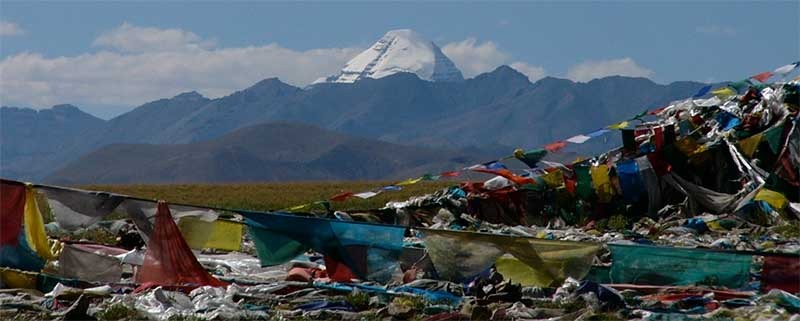 Mount Kailash with prayer flags in the foreground