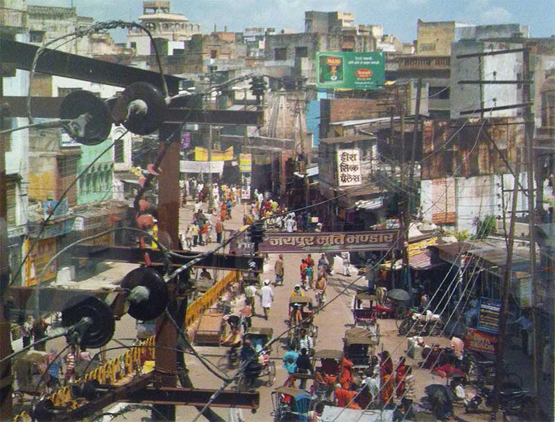Overhead view of Varanasi city streets