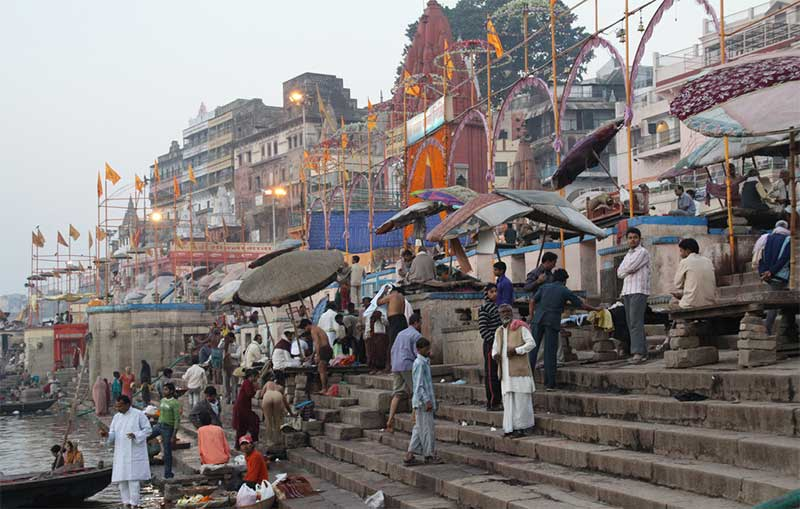 River life along the ghats in Varanasi