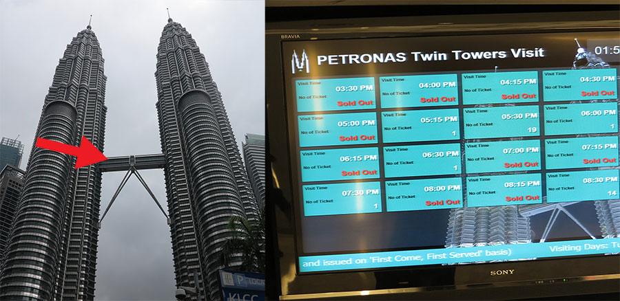 Petronas Towers Skydeck, sold out screen