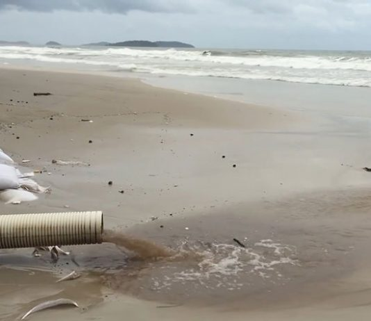 Raw sewage pouring into the sea in Cambodia
