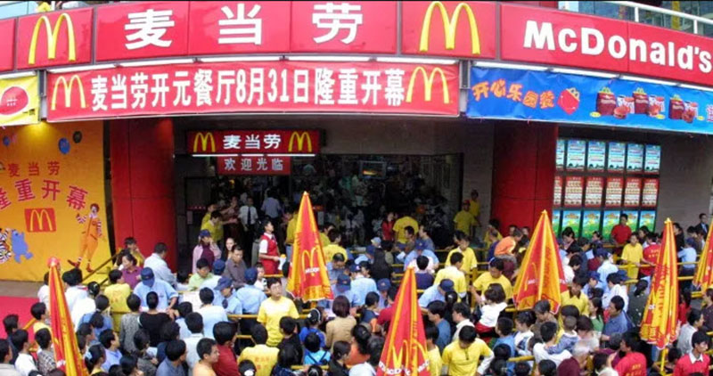 McDonalds open in China, 2001